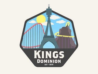Kings Dominion amusement park illustrator vector badge intimidator volcano rollercoasters kings dominion