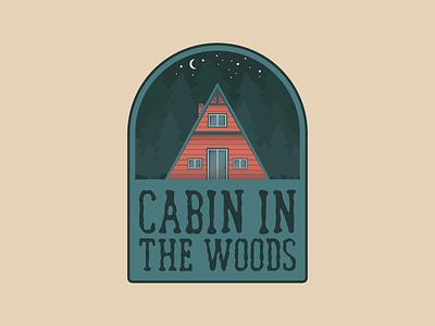 Cabin In The Woods illustrator. illustration badge woods cabin