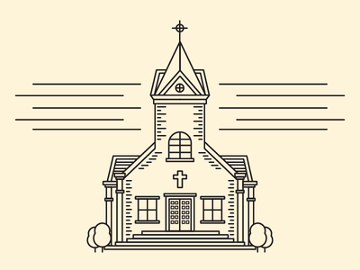 Country Church 2 line country building illustration church