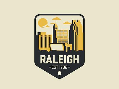 Raleigh, NC oak acorn triangle city of oaks illustrator badge downtown north carolina raleigh
