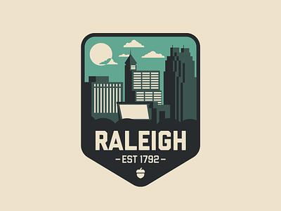 Raleigh, NC – V2 oak acorn triangle city of oaks illustrator badge downtown north carolina raleigh