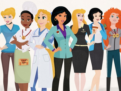 Disney Princesses Reimagined careers women photoshop illustrator princesses disney