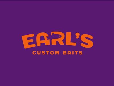 Earl's Custom Baits fishing typography icon vector illustration design branding logo