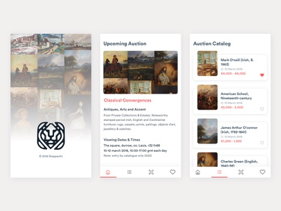 Auction House Mobile App white clean android ios paint catalog classic mobile bid app auction