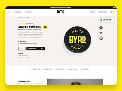 BYRD Hairdo Products product page web design pomade barber branding design ux ui ecommerce shopify shopify template animation website