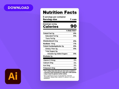 Editable Nutritional Facts - Free Download label editable design packaging nutritional label nutritional facts nutritional vector free download