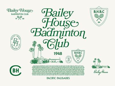 Bailey House Badminton Club badminton vintage logo logo apparel tshirt illustration design 1960s 1950s tennis golf sports club retro illustration