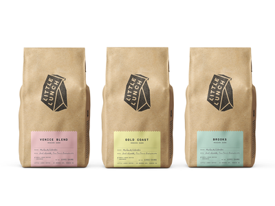 Little Lunch Coffee Packaging logo craft minimal coffee bag coffee shop packaging branding design cafe branding coffee