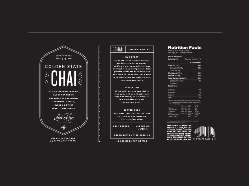 Golden State Chai chai logo packaging tea label