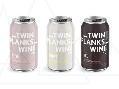 Twin Planks Wine Co. label type modern rose can canned packaging wine