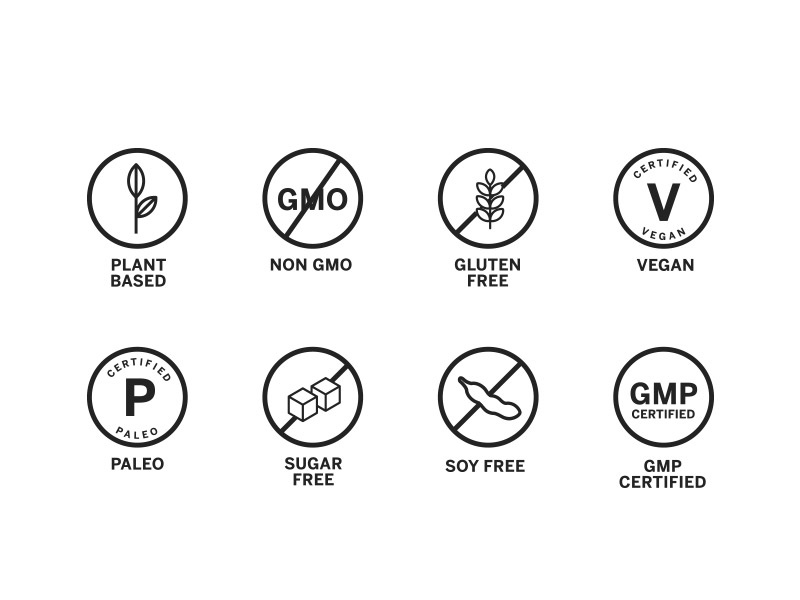 Food Claim Icon Pack - Free Download vegan sugar-free soy based plant paleo non-gmo icons certified gmp gluten free