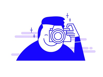 Cheese Please! vector photographer icon character design camera photo character illustraion