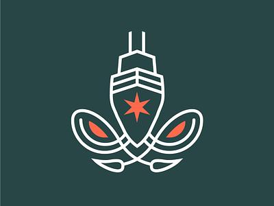 Chicago Deep Icon esports logo chicago skyscraper star ship squid icon