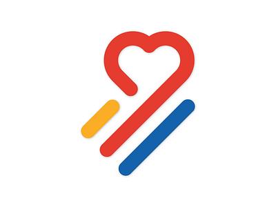 <3 stripes heart icon logo