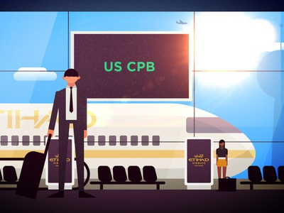 Airport 2d character design character after effects mexico animation design traveling flying eithad covid berlin airport