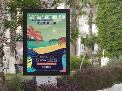 Simple Spaces Posters 02 print flat illustration bulgara beach flat vector branding 2d illustration berlin design