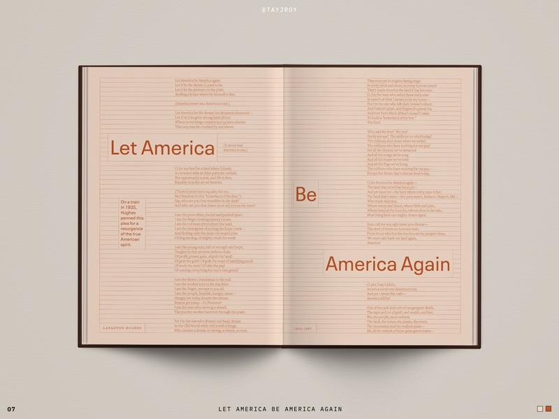 Spread Study 07 tone on tone civil rights poetry poem editorial design book editorial print layout typography type design