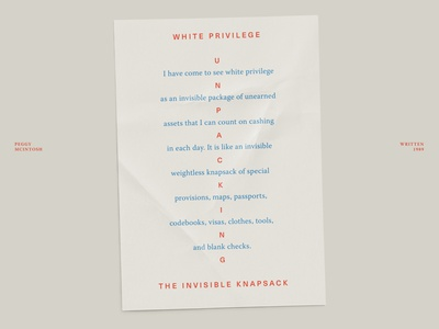A note on white privilege page layout editorial design minimal poster paper quote print layout typography type design
