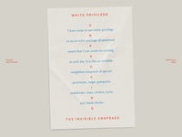 A note on white privilege minimal poster paper quote print layout typography type design