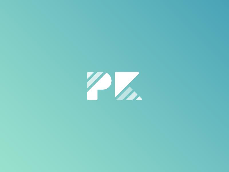 PK geometric grid branding k p pk logo