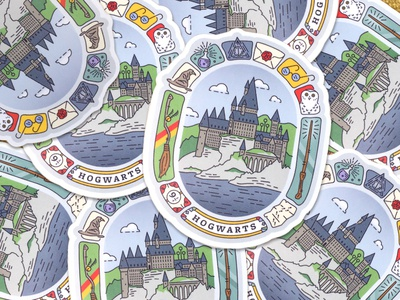 Hogwarts is Home quidditch wand badge rowling witch wizard magic sticker hogwarts potter harry