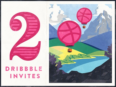 2 Dribbble Invites! air hot mountain hills travel balloon shot debut dribbble invites invite 2