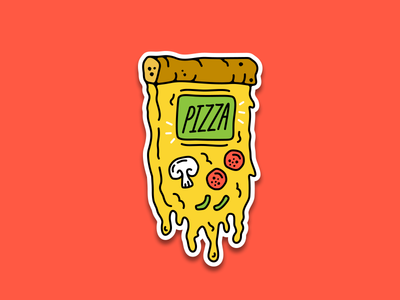 Pizza Gameboy play food cheese sticker pepperoni boy gameboy pizza video game