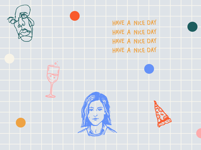 have a nice day 😊 grid polka dot continuous line blind contour avatar pizza wine
