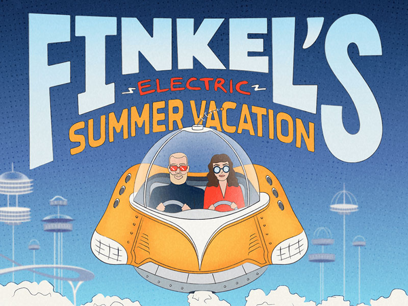 Finkel's Electric Summer Vacation Tour electric summer music clouds flying jetsons poster tour city flying car hoverboard hovercraft