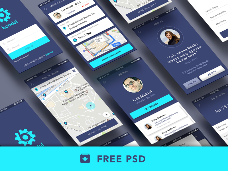 Freebie PSD : Boodal Apps mockup template free psd freebie blue uxdesign uidesign perspective map ux ui