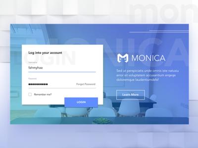 Login Dashboard for Monica Web Apps