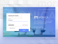 Login Dashboard for Monica Web Apps