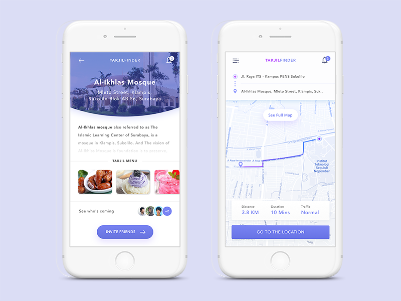 Takjil Finder App Concept invitation clean white iphone purple uxdesign uidesign mosque islam islamic food map