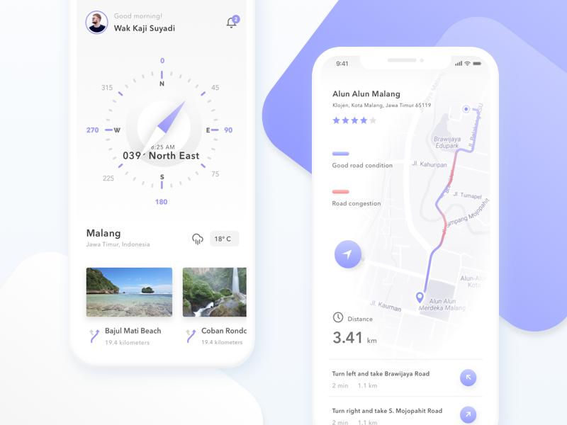 Backapacker & Traveler Exploration App exploration flat clean travel app compass map ios iphone iphonex ux ui