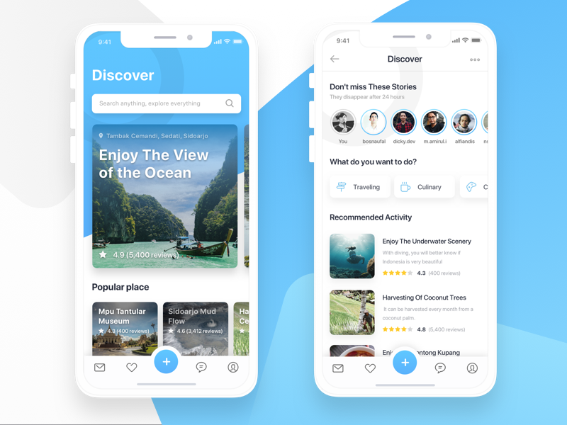 Discover Tourist Destinations material flat clean design blue white ios iphone iphonex discover ux ui