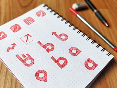 Hand-drawn Logo Variations logo logo design early sketch sketch logo making logo sketching