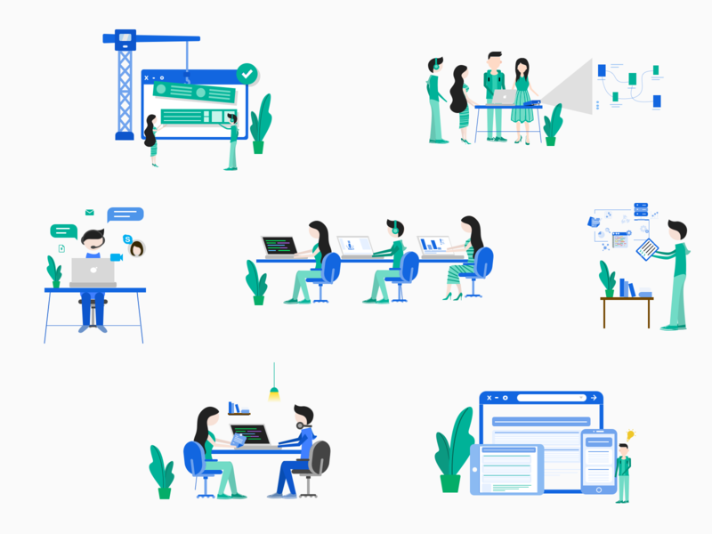 Describing Process through Artworks graphicsdesign vector discussion chat prototyping workplace softwarecompany process illustrator artwork illustration