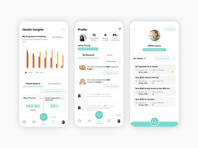 weCare Mobile App sketch design nosmoking healthcare app ux ui smoking cigaretteaddiction mobile