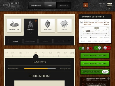 WineConnected - Wine Making Application design dashboard interface application wine