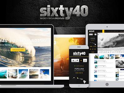 Sixty40 Bodyboarding - App Concept ui ux application development interface design bodyboard surf waves app concept