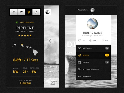 Surf Report & Profile Dropdown touch clean ux ui profile dropdown interface design app surf report