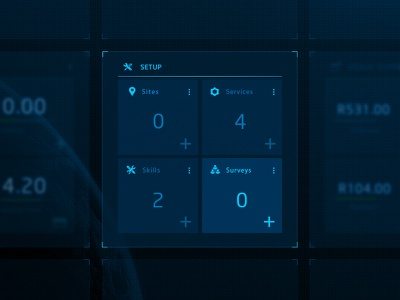 Blue Monday sci-fi concept ui widget dashboard