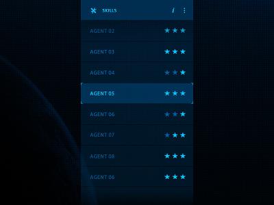 ill Skills rating star test ui list agent skills scroll