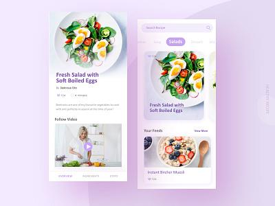 Daily UI / Food Recipe App taipei taiwan recipe app healthy healthyfood purple app ui clean app recipe cooking clean
