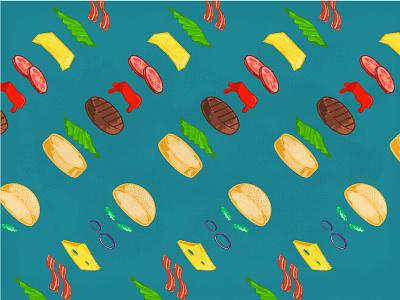 Burger Pattern junk food colors food pattern burger