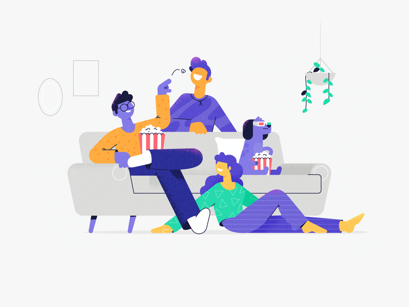 Friends home pattern group sunday movie relax chill couch friends dog texture woman character illustration vector patswerk