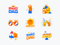 King's Day stickers house icons party festive sun icecream typography sticker set stickers sticker snapchat character illustration vector patswerk
