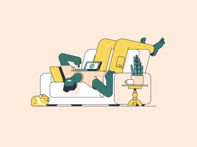 Vanzelf pattern lineart computer stay home home plant pet couch lazy character illustration vector patswerk