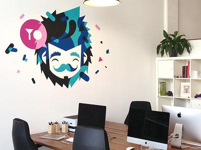 Studio wall patswerk illustration mural wallpainting logo moustache yo character
