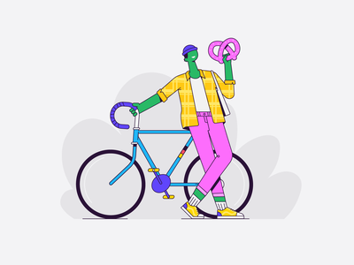 Berlin guy germany german berlin funky pattern clothing outline hipster bicycle bike character illustration vector patswerk